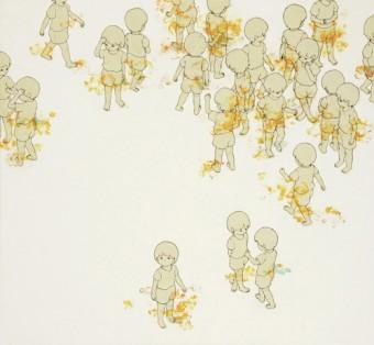 「つながりのあるところⅢ」(2010年制作/68×72cm/和紙、岩絵具、胡粉)